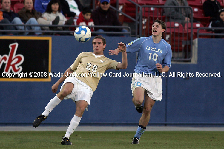 12 December 2008: Danny Wenzel (20) of Wake Forest beats Billy Schuler (10) of North Carolina to a lose ball.  The Wake Forest University Demon Deacons were defeated by the University of North Carolina Tar Heels 0-1 at Pizza Hut Park in Frisco, TX in an NCAA Division I Men's College Cup semifinal game.