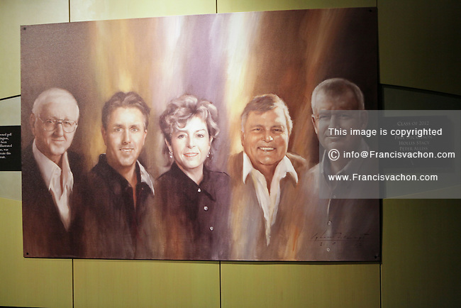 A painting portraying the class of 2012, Dan Jenkins, Phil Mickelson, Hollis Stacy, Peter Alliss and Sandy Lyle,  is seen at the World Golf Hall of Fame in St. Augustine, Florida Friday April 26, 2013. Located in The World Golf Village, the World Golf Hall of Fame features exhibits on the game's history, heritage, and techniques and a Hall of Fame.