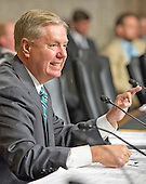 """United States Senator Lindsey Graham (Republican of South Carolina), a candidate for the Republican nomination to be President of the United States, questions the witnesses during the US Senate Committee on Armed Services hearing concerning """"Impacts of the Joint Comprehensive Plan of Action (JCPOA) on U.S. Interests and the Military Balance in the Middle East"""" on Capitol Hill on Wednesday, July 29, 2015.<br /> Credit: Ron Sachs / CNP"""
