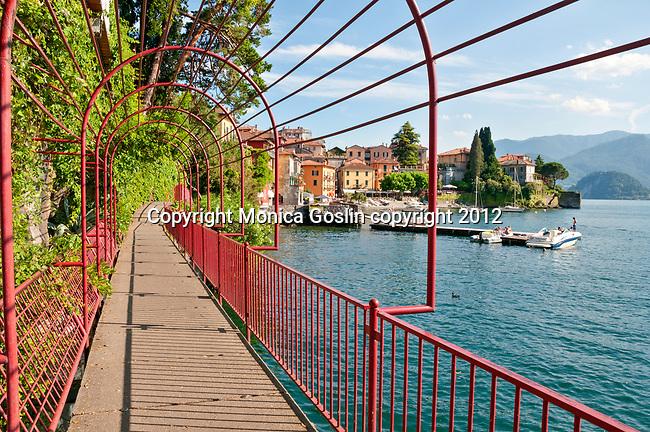 Waterfront walkway of Lake Como town, Varenna