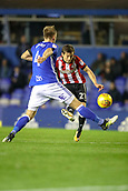 1st November 2017, St. Andrews Stadium, Birmingham, England; EFL Championship football, Birmingham City versus Brentford; Lasse Vibe of Brentford gets a shot on goal