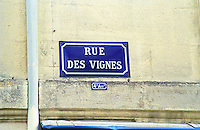 "Typical old French Blue Street sign in the old town in Bordeaux with white text: Rue des Vignes (""Vine Street"") in the 4th fourth arondissement district Bordeaux City, Bordeaux Gironde Aquitaine France Europe  Bordeaux Gironde Aquitaine France Europe"