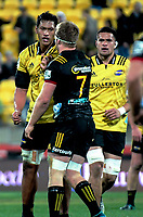 Sam Lousi and Sam Cane have words during the Super Rugby quarterfinal match between the Hurricanes and Chiefs at Westpac Stadium in Wellington, New Zealand on Friday, 20 July 2018. Photo: Dave Lintott / lintottphoto.co.nz