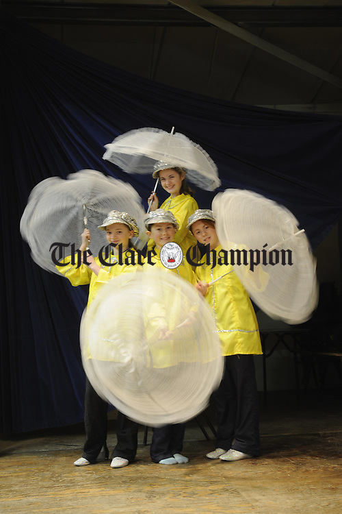 Kate O Gorman, Nicole Kelly, Christine Collins and Ali Quinlan as the Weather Girls  pictured during rehearsals for the Sixmilebridge Youth Club's pantomime production of Babes in the Wood, which runs on the 8th 9th and 10th of February in the local GAA Hall. Photograph by John Kelly.