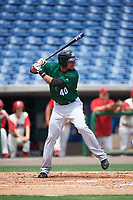 Daytona Tortugas center fielder Jonathan Reynoso (40) bats during a game against the Clearwater Threshers on April 20, 2016 at Bright House Field in Clearwater, Florida.  Clearwater defeated Daytona 4-2.  (Mike Janes/Four Seam Images)