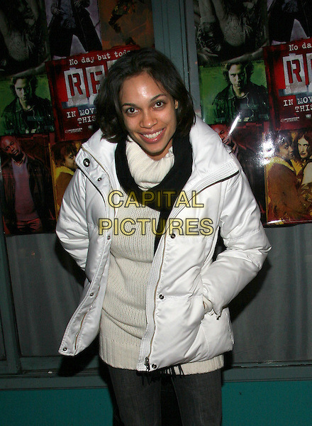 ROSARIO DAWSON.'Rent' Cast and Crew Party at Life Cafe.  New York..18th November 2005.Ref: ADM/JL.3/4 length hands in pockets white poloneck coat black scarf.www.capitalpictures.com.sales@capitalpictures.com.© Capital Pictures..