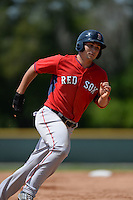 Boston Red Sox Nick Longhi (30) during a minor league spring training game against the Baltimore Orioles on March 18, 2015 at Buck O'Neil Complex in Sarasota, Florida.  (Mike Janes/Four Seam Images)