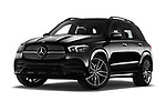 Stock pictures of low aggressive front three quarter view of a 2020 Mercedes Benz GLE AMG-Line 5 Door SUV