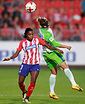 Atletico de Madrid's Ludmila Da Silva (l) and VfL Wolfsburg's Babett Peter during UEFA Womens Champions League 2017/2018, 1/16 Final, 1st match. October 4,2017. (ALTERPHOTOS/Acero)