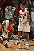 STANFORD, CA - JANUARY 6:  Da'Veed Dildy and Jeremy Green of the Stanford Cardinal after Stanford's 54-53 win over the USC Trojans on January 6, 2009 at Maples Pavilion in Stanford, California.