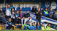Wycombe Wanderers Manager Gareth Ainsworth & the bench during the Sky Bet League 2 match between Portsmouth and Wycombe Wanderers at Fratton Park, Portsmouth, England on 23 April 2016. Photo by Andy Rowland.