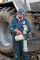 Checking specific gravity of suspension fertilser - Norfolk, February
