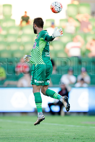 07.03.2016, Perth, Australia. Hyundai A-League, Perth Glory versus Newcastle Jets. Newcastle Jets goalkeeper Mark Birighitti watches the ball go past the post during the second half.