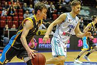 GRONINGEN - Basketbal, Donar - Den Helder Suns, Dutch Basketbal League, seizoen 2018-2019, 20-04-2019, Den Helder speler Boy van Vliet met Donar speler Thomas Koenes