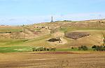 Historic Lansdowne monument, Cherhill, Wiltshire, England, UK chalk escarpment slope and dry valleys