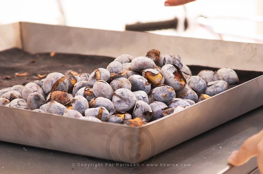 roasted chestnuts for sale praca do comercio lisbon portugal