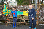 Mark Griffin and Cian Griffin from Gallygarrett, Camp who won first prize for Best Ram and second prize for Cheviot Yew enjoying the Camp Sheep Fair on Thursday