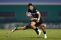 Anthony Watson of Bath Rugby takes on the Benetton Rugby defence. European Rugby Champions Cup match, between Benetton Rugby and Bath Rugby on January 20, 2018 at the Municipal Stadium of Monigo in Treviso, Italy. Photo by: Patrick Khachfe / Onside Images