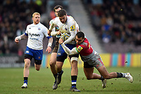 Matt Banahan of Bath Rugby takes on the Harlequins defence. Aviva Premiership match, between Harlequins and Bath Rugby on March 2, 2018 at the Twickenham Stoop in London, England. Photo by: Patrick Khachfe / Onside Images