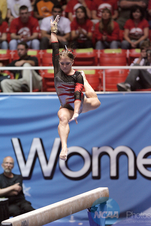 27 APR 2007: Courtney McCool of the University of Georgia competes on the balance beam during the Division I Women's Gymnastics Team Championship held at the Jon M. Huntsman Center on the University of Utah campus in Salt Lake City, Ut. McCool placed first in the competition with a score of 9.950. Jaren Wilkey/NCAA Photos