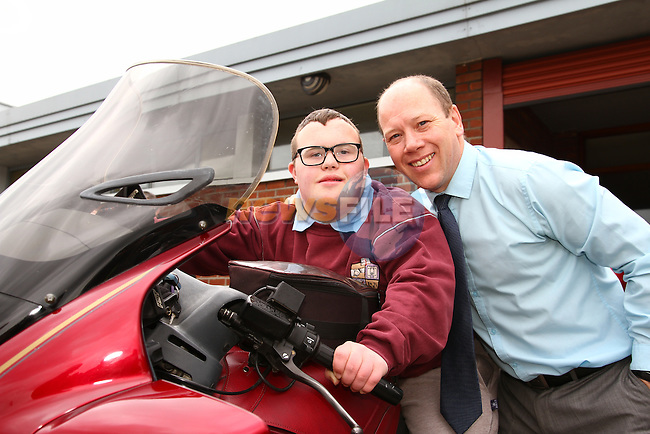 Ronan O Callaghan and Miceal Moley at the Run of The Country Motorbike launch at St. Ita's School<br /> Picture: www.newsfile.ie