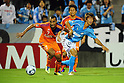 Anderson (Albirex), Shuto Yamamoto (Jubilo), SEPTEMBER 24, 2011 - Football / Soccer : 2011 J.League Division 1 match between Jubilo Iwata 1-0 Albirex Niigata at Yamaha Stadium in Shizuoka, Japan. (Photo by AFLO)