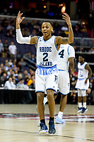 Washington, DC - MAR 10, 2018: Rhode Island Rams guard Fatts Russell (2) gets the crowd going following a three point basket during the semi final match up of the Atlantic 10 men's basketball championship between Saint Joseph's and Rhode Island at the Capital One Arena in Washington, DC. (Photo by Phil Peters/Media Images International)