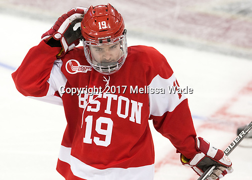Clayton Keller (BU - 19) - The visiting Boston University Terriers defeated the Boston College Eagles 3-0 on Monday, January 16, 2017, at Kelley Rink in Conte Forum in Chestnut Hill, Massachusetts.