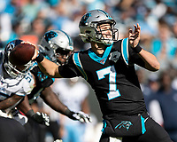 CHARLOTTE, NC - NOVEMBER 3: Kyle Allen #7 of the Carolina Panthers during a game between Tennessee Titans and Carolina Panthers at Bank of America Stadium on November 3, 2019 in Charlotte, North Carolina.