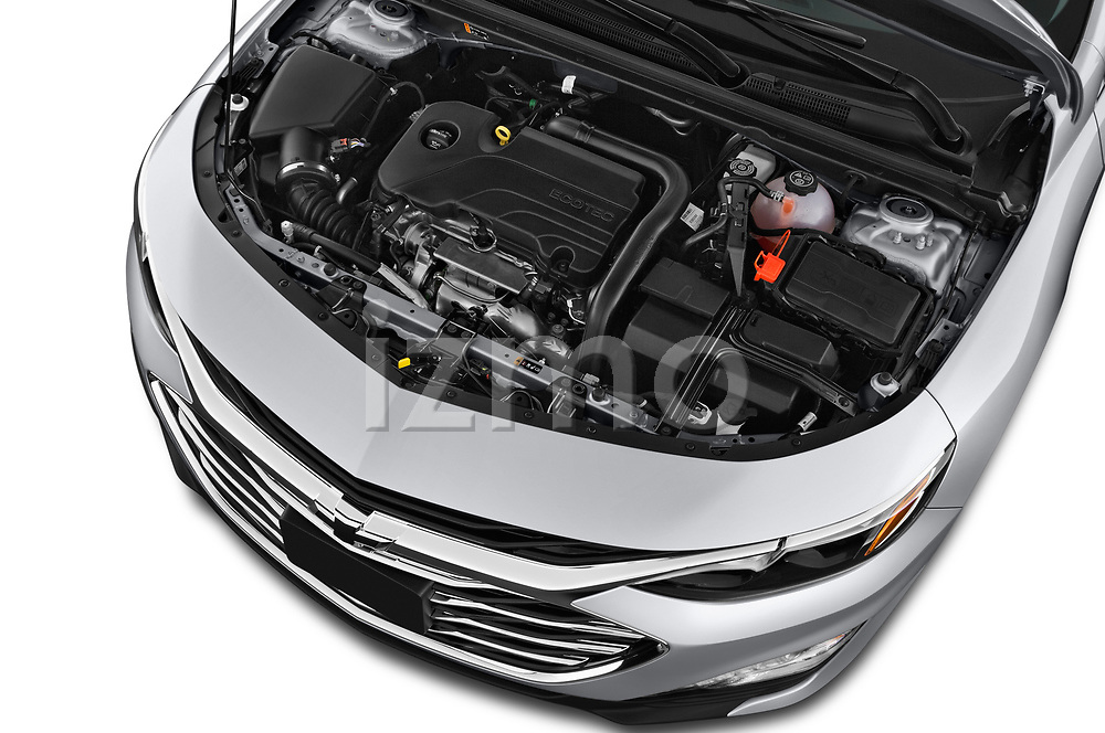 Car stock 2019 Chevrolet Malibu LT 4 Door Sedan engine high angle detail view