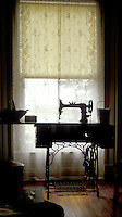 Sewing machine by window, Beaconsfield House, Charlottetown, Prince Edward Island, Canada