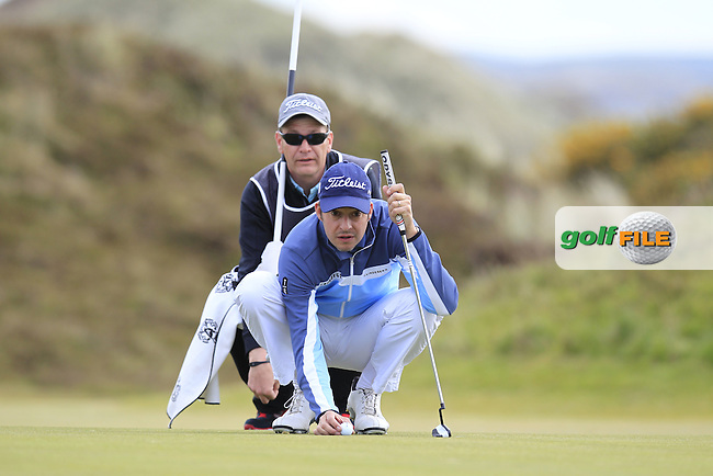 Simon THORNTON (IRL) lines up his putt on the 8th green during Saturday's Round 3 of the 2015 Dubai Duty Free Irish Open, Royal County Down Golf Club, Newcastle Co Down, Northern Ireland 5/30/2015<br /> Picture Eoin Clarke, www.golffile.ie