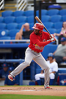 Palm Beach Cardinals outfielder C.J. McElroy (3) at bat during the first game of a doubleheader against the Dunedin Blue Jays on July 31, 2015 at Florida Auto Exchange Stadium in Dunedin, Florida.  Dunedin defeated Palm Beach 7-0.  (Mike Janes/Four Seam Images)