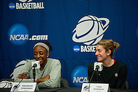 NORFOLK, VA--Nneka Ogwumike and Toni Kokenis field questions from the media during an off-day practice session at the Ted Constant Convocation Center at Old Dominion University in Norfolk, VA in the 2012 NCAA Championships. The Cardinal will play West Virginia on Monday, March 19 to qualify for the West Regionals in Fresno.