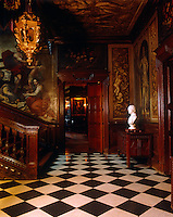 The Grand Staircase Hall at Powis Castle with walls decorated in 1705 by Gerard Lanscroon, a pupil of Verrio, and the ceiling by Verrio himself