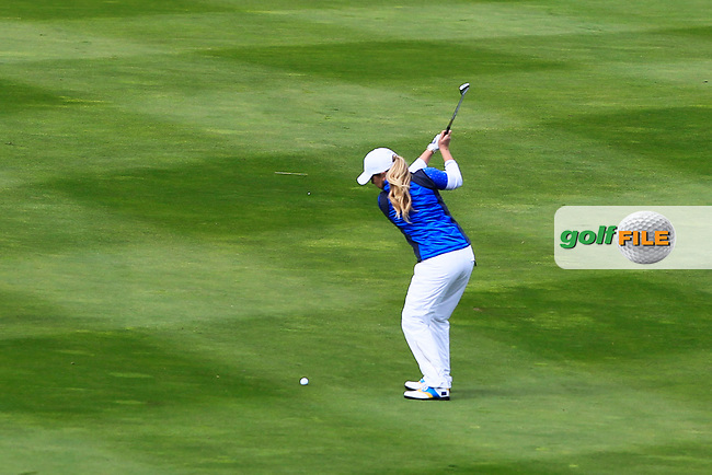 Bronte Law (EUR) on the 1st fairway during Day 3 Singles at the Solheim Cup 2019, Gleneagles Golf CLub, Auchterarder, Perthshire, Scotland. 15/09/2019.<br /> Picture Thos Caffrey / Golffile.ie<br /> <br /> All photo usage must carry mandatory copyright credit (© Golffile | Thos Caffrey)