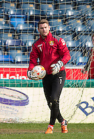 Goalkeeper Jamie Jones of Stevenage warms up during the Sky Bet League 2 match between Wycombe Wanderers and Stevenage at Adams Park, High Wycombe, England on 12 March 2016. Photo by Andy Rowland/PRiME Media Images.