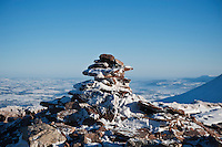 Corn Du summit cairn in winter, Brecon Beacons national park, Wales