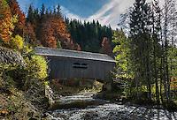 Austria, Vorarlberg, Kleinwalsertal, near village Hirschegg: Leidtobel bridge across river Breitach | Oesterreich, Vorarlberg, Kleinwalsertal, bei Hirschegg: Leidtobelbruecke ueber die Breitach