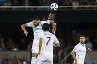 San Jose, CA - Wednesday July 25, 2018: Clint Dempsey, Harold Cummings during a Major League Soccer (MLS) match between the San Jose Earthquakes and the Seattle Sounders FC at Avaya Stadium.