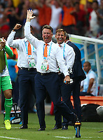 Netherlands manager Louis Van Gaal celebrates his sides equalising goal by Robin Van Persie