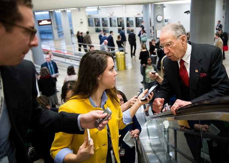 UNITED STATES - JANUARY 31: Senate Judiciary chairman Chuck Grassley, R-Iowa, speaks with reporters as he arrives in the Capitol for a vote on Tuesday, Jan. 31, 2017. (Photo By Bill Clark/CQ Roll Call)