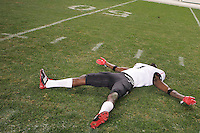 PITTSBURGH, PA - NOVEMBER 05:  Kenbrell Thompkins #1 of the Cincinnati Bearcats pretends to create snow angels at midfield following their win against the Pittsburgh Panthers on November 5, 2011 at Heinz Field in Pittsburgh, Pennsylvania.  (Photo by Jared Wickerham/Getty Images)