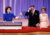 U.S. Secretary of Transportation Elizabeth Dole, left,  welcomes U.S. President Ronald Reagan, center, and First Lady Nancy Reagan, right, to the 1988 Republican National Convention in New Orleans, Louisiana on August 15, 1988.  Ms. Dole won a seat in the U.S. Senate in 2002.<br /> Credit: Arnie Sachs / CNP