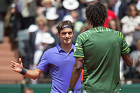 June 1, 2015: Roger Federer of Switzerland celebrates winning a 4th round match against Gael Monfils of France on day nine of the 2015 French Open tennis tournament at Roland Garros in Paris, France. Federer won 63 46 64 61. Sydney Low/AsteriskImages