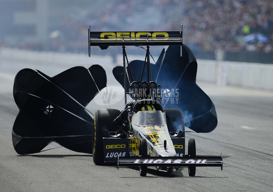 Sept. 30, 2012; Madison, IL, USA: NHRA top fuel dragster driver Morgan Lucas during the Midwest Nationals at Gateway Motorsports Park. Mandatory Credit: Mark J. Rebilas-