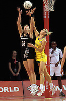 23.09.2012 Silver Ferns Irene Van Dyk and Australian Laura Geitz in action during the third netball test match between the Silver Ferns and the Australian Diamonds at CBS Canterbury Arena in Christchurch. Mandatory Photo Credit ©Michael Bradley.