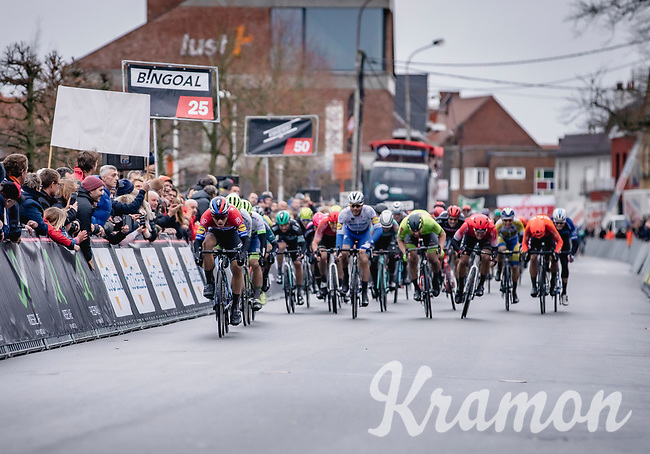 Fabio Jakobsen (NED/Deceuninck Quick Step) wins the bunch sprint of the GP Monseré 2020<br /> <br /> One Day Race: Hooglede – Roeselare 196.8km. (UCI 1.1)<br /> Bingoal Cycling Cup 2020