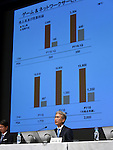 July 29, 2016, Tokyo, Japan - Vice President Kenichiro Yoshida of Japans Sony Corp. reports its first-quarter results during a briefing at its head office in Tokyo on Friday, July 29, 2016. The electronics and entertainment giants group net profit dived 74.3% to 21.17 billion yen for the three months ended in June as earnings got hammered by a strong yen and lagging smartphone sales, and a quake that struck southwestern Japan caused damage and production halts in its semiconductor business. (Photo by Natsuki Sakai/AFLO) AYF -mis-