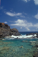 A snorkler swims in The Baths, a protected cove of water on the island of Culebra in Puerto Rico.